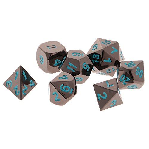 SM SunniMix Lote 7 Piezas Dados Números Multifaciales Dados D4-D20 Metal para Juegos de D&D RPG - Azul