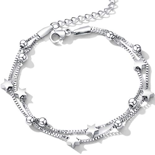 Cupimatch Armband Frauen Fein Pentagramm Edelstahl Doppelte Kette Verstellbar Damen Arm Schmuck, Silber/Rosegold