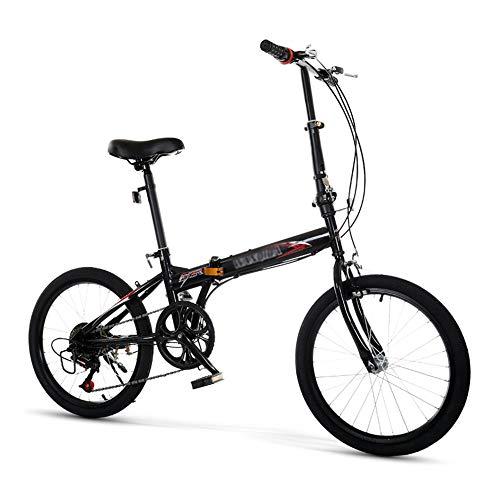 Bicicleta, Bicicleta Plegable PortáTil de 20 Pulgadas Y 6 Velocidades, Bicicleta de CercaníAs, Marco de Bajo Alcance, Altura Del Asiento Ajustable, para Trabajadores de Oficina/Estudiantes