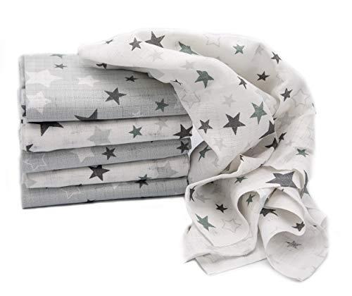 Clevere Kids Mulltücher Sterne grau | 6er Pack | Spucktücher Mullwindeln | 70x80 | doppelt gewebt |OEKO-TEX (Mixed Stars hellgrau)