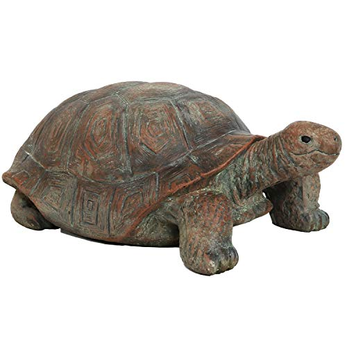 Sunnydaze Talia The Tortoise Garden Statue - Glass Fiber Reinforced Concrete Construction - Indoor/Outdoor Yard Art Decor - Turtle Lawn Ornament - Backyard and Patio Animal Sculpture - 11-Inch Tall