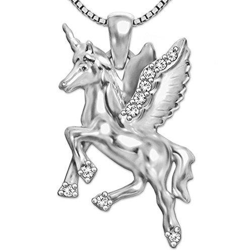 CLEVER SCHMUCK Set Silberner Damen Anhänger Einhorn mit Flügeln 23 mm beidseitig figürlich...