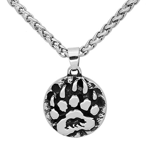 GuoShuang Stainless Steel Nordic Viking Amulet Rune Small Bear paw Necklace with Valknut Gift Bag