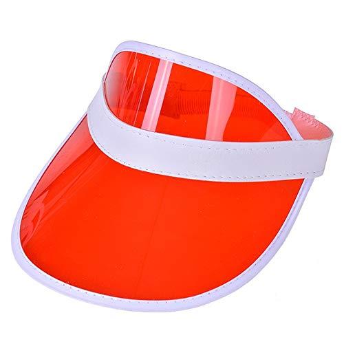 Mdsfede Sol de Verano para Hombre Sombreros de Color Caramelo Transparente vacío Superior Protector Solar de plástico Sombreros Sombrero de Sol Gorra de béisbol para Bicicleta -Rojo