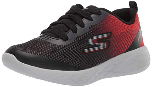 Skechers Go Run 600-Haddox, Zapatillas Niños, Negro (BKRD Black & Lime Textile/Blue Trim), 27 EU