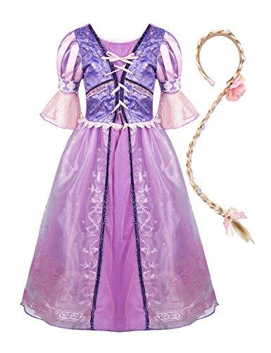 YiZYiF Disfraz Princesa Medieval para Niñas Vestido Princesa Sofía con Trenza Cosplay Rapunzel Traje Disfraces Halloween Navidad Cumpleaños Fiestas Morado 2-3 Años