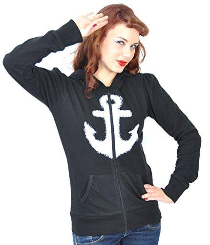 Küstenluder WHITE ANCHOR Anker Sailor Hooded Zip Sweat JACKE Rockabilly - 5