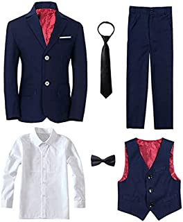 Yanlu Boy's Tuxedos Toddler Formal Suits Set Kids Blue Black Slim Fit Suit for Weddings