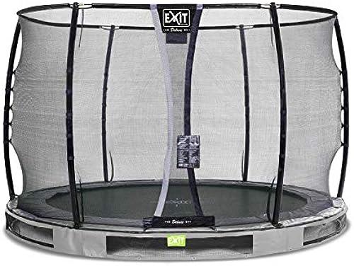EXIT Elegant InGründ-Trampolin  cm mit Deluxe Sicherheitsnetz - grau