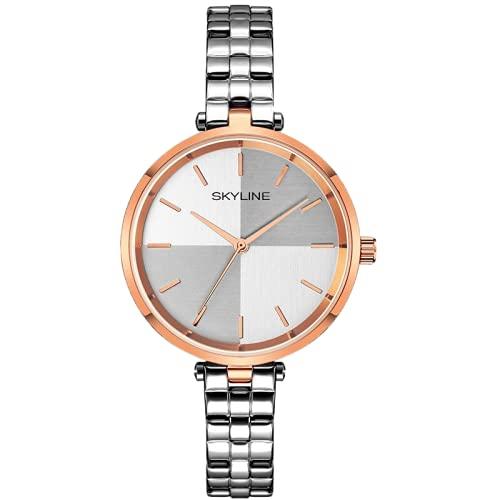 SKYLINE, Reloj de Pulsera para Mujer, Acero Inoxidable, Diseño Minimalista con Fondo Bicolor, Estilo Elegante, Ideal para Uso Diario, Regalo Fechas Especiales, Color Plateado