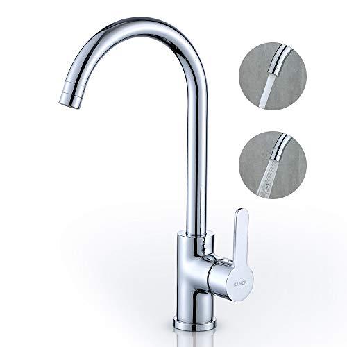 KAIBOR Chrom Küchenarmatur 360° Schwenkbar Wasserhahn Küche mit 2 Strahlarten, Mischbatterie Einhebelmischer Armatur Spültischarmatur für Küche Spüle