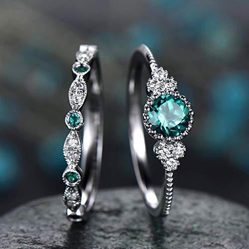 Moent 2 Stück Funkelnde natürliche Edelstein Ring Set Frauen Smaragd Saphir Eheringe