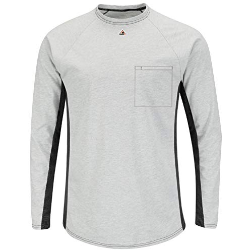 Bulwark Men's FR Long Sleeve Base Layer with Concealed Chest Pocket, Grey, Medium