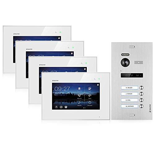 BALTER EVO Video Türsprechanlage ✓ Touchscreen 7 Zoll Monitor ✓ Türstation für 4 Familienhaus Türklingel ✓ 2-Draht BUS ✓ 150° Weitwinkel-Kamera