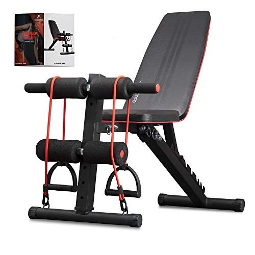 arteesol Weight Bench – Adjustable Weight Bench Workout Bench Exercise Bench with Elastic Strings for Full Body Training (Black-night)