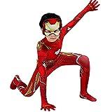 LQ-ZHUOJIAO Iron Man Cosplay Jumpsuit Niños Carnaval Body Adulto Disfraz De Halloween Disfraces Traje Lycra Spandex Zentai 3D Print Onesies,Red-Kid L(130~140CM)
