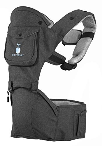 Hatchlet Caress Ergonomic Hip Seat 6-in-1 Baby Front Back Carrier for Newborn to Toddler 3-36 Month Babies - Advanced Lumbar Support, Infant Head Support, Soft & Breathable Fabric, Storage Pockets