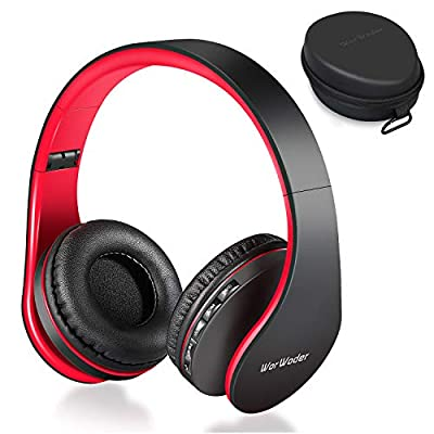 Wireless Bluetooth Over Ear Stereo Foldable Headphones, Wireless and Wired Mode Headsets with Soft Memory-Protein Earmuffs,Built-in Mic for Mobile Phone TV PC Laptop (Black&Red) by Worwoder