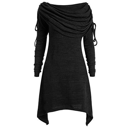 PFZL Plus Size Túnica Top Blusa Suéter Vestido Mujer Fruncido Largo Cuello Plegado Vestido Suéter Mujer Invierno