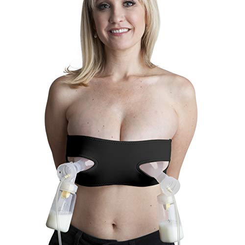Pump Strap Hands-Free Pumping & Nursing Bra – Pump More in Less Time - Fits All Moms, Adjusts with Body (One Size, Cup A-DD, Black)