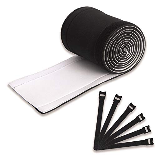 panaq Kabelschlauch weiß schwarz 2m + 25 Klett Kabelbinder - Neopren Kabelkanal ideal als Kabel Organizer für das Kabelmanagement oder zum Kabel verstecken