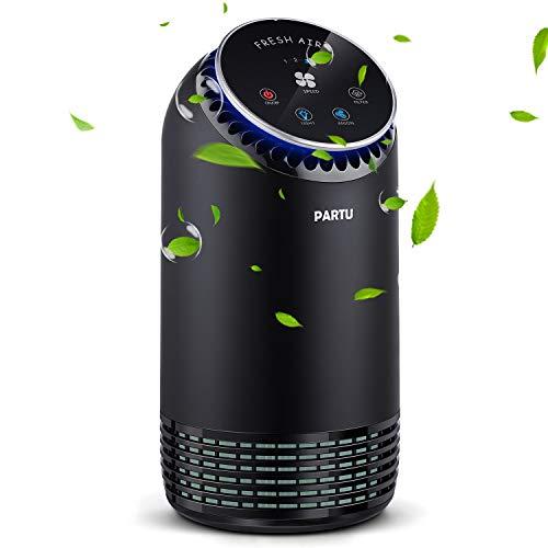 Purificatore d'Aria Casa Ultra Silent 24-48dB CADR 90-110m³/h 99,97% Filtrazione 3 Punti - Prefiltro/Filtro HEPA/Carbone Attivo - LED Lampada Ambience, Filtro Polvere Particelle Polline Batteri Odore