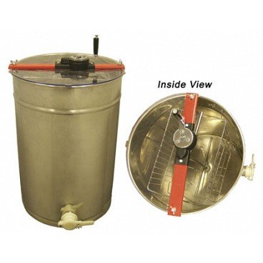BuildaBeehive Honey Extractor Spinner Constructed of High-Polished Stainless Steel with Turning Manual Hand Crank