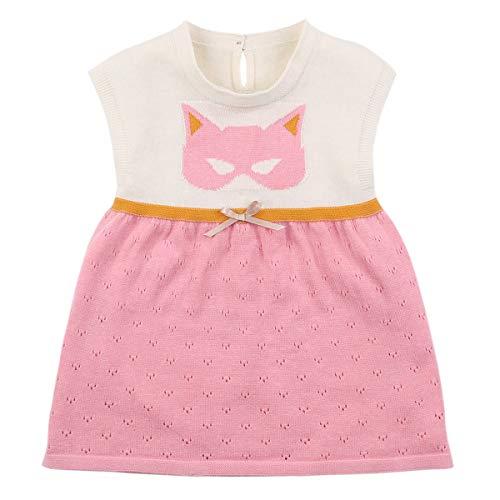 Borlai Baby Girls Sleeveless Casual Dress Cotton Knit One Piece Dress for Girls [Cat]