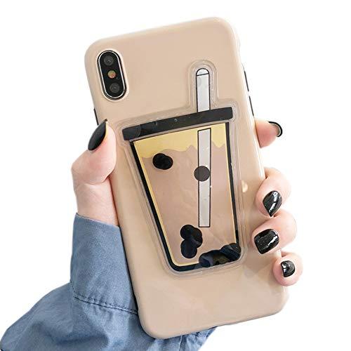 SGVAHY - Carcasa líquida para iPhone 6 Plus, diseño de perlas, leche, té y arena movediza, silicona suave, a prueba de golpes, funda protectora para iPhone 6s Plus iPhone 7 / 8 Té de leche