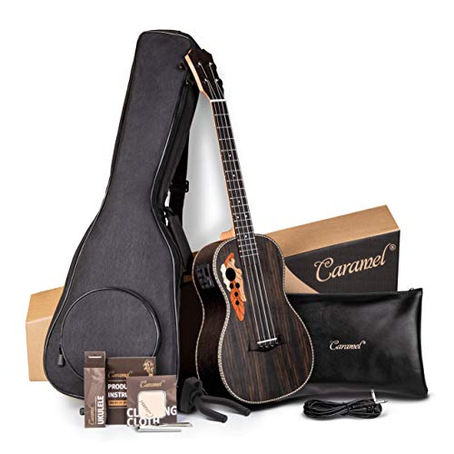 Caramel 6 String CB500G 30 Inch Rosewood Baritone Acoustic Electric Ukulele Guitalele with Truss Rod with Strings, Padded Gig Bag, Strap and Picks
