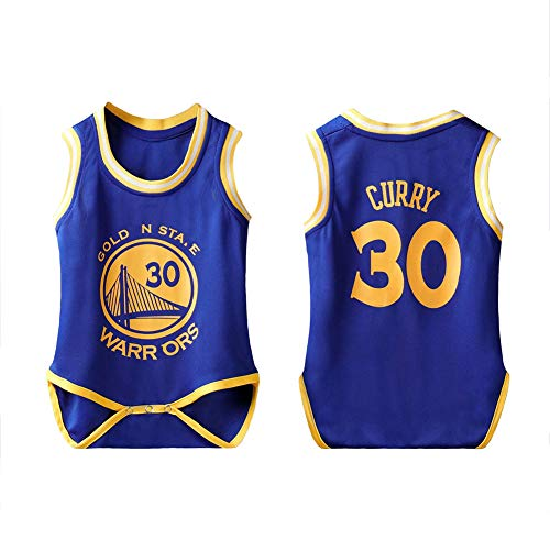 LCHENX-Baby Basketball Trikot NBA Golden State Warriors Stephen Curry # 30 Fan Boy Bodysuit Krabbelanzug,Blau,9(65~75cm)