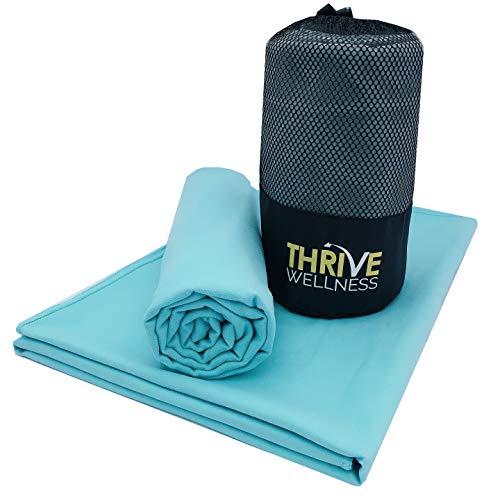 """Microfiber Towel, Quick Dry Towels, Camping Towels, Travel Towels, Gym Towel, Yoga Towel, Beach Towel - Sports, Hiking, Backpacking - Super Absorbent, Ultralight, Compact (Aqua(60""""+30"""")+Aqua(40""""+20""""))"""