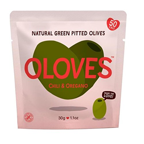 Oloves, Green Olives Pitted - Keto Friendly Snacks, Juicy Plump Olives, Chili and Oregano Flavour - 30 g, Pack of 10 in Small Pouch