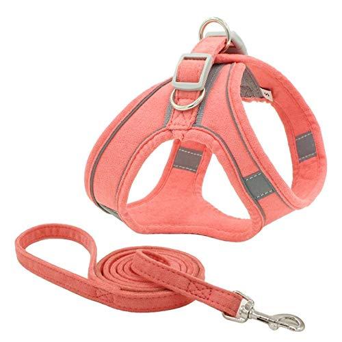 Chalecos acolchados de nailon reflectante transpirable para perros con correa ajustable para el pecho, correa de seguridad para todos los climas, arnés de perro para mascotas, arnés de perro M rosa