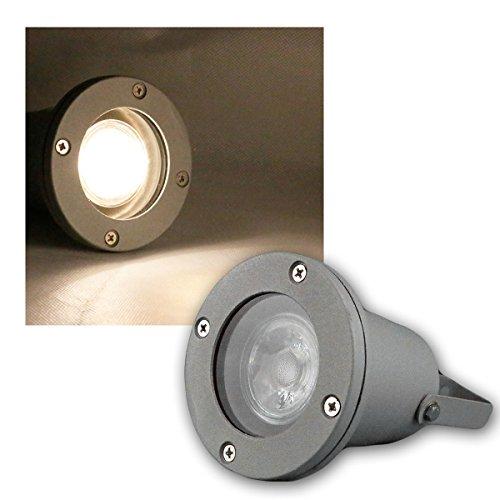 Faretto da giardino grigio, COB LED bianco caldo 5W 400lm, IP44