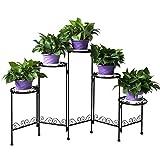 YP Schwarz blumentreppe Metall Blumenständer Pflanzentreppe Pflanzenständer für 5 Topfpflanzen innen und außen Garten Balkon