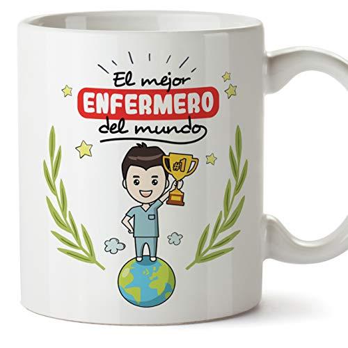 MUGFFINS Enfermero Tazas Originales de café y Desayuno para Regalar a Trabajadores Profesionales - El Mejor Enfermero del Mundo - Cerámica 350 ml