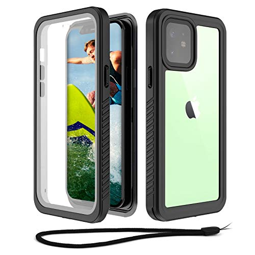 WIFORT Waterproof Case Compatible for iPhone 12 Mini, Full Body Sealed Built in Screen Protector, Rugged Snowproof Shockproof Dusproof Case for iPhone 12 Mini (2020, 5.4 inch), Black + Clear