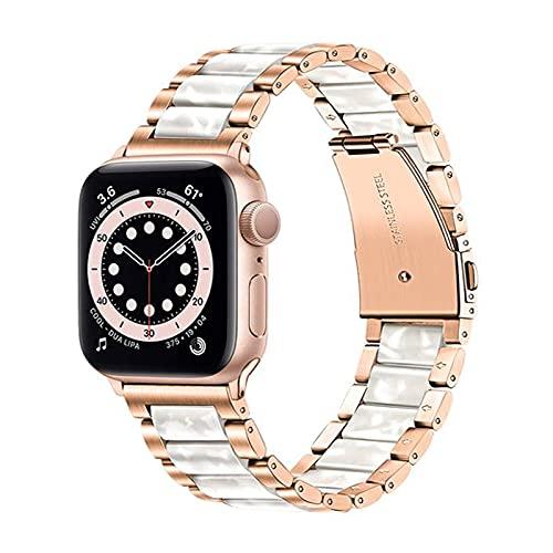 TRUMiRR Compatible con Apple Watch Series SE/Series 6 38mm 40mm Correa,Correa de Reloj de Resina y Acero Inoxidable Pulsera Deportiva Pulsera de Recambio para iWatch Apple Watch SE Series 6 5 4 3 2 1
