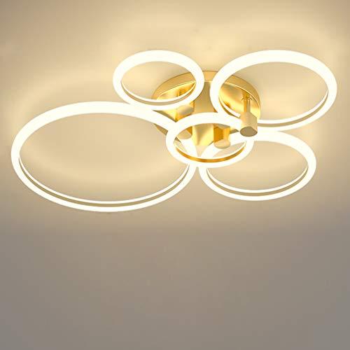 Lámpara de techo moderna para sala de estar Focos de techo LED para dormitorio Regulable con control remoto Habitación infantil de oro Cocinas Comedor Villa Hotel Café Iluminación de techo,75cm A