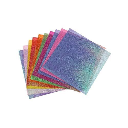 50 piezas de papel de origami cuadrado de una sola cara con purpurina plegable de color para niños tallados hechos a mano DIY Scrapbooking (Kleur : B)