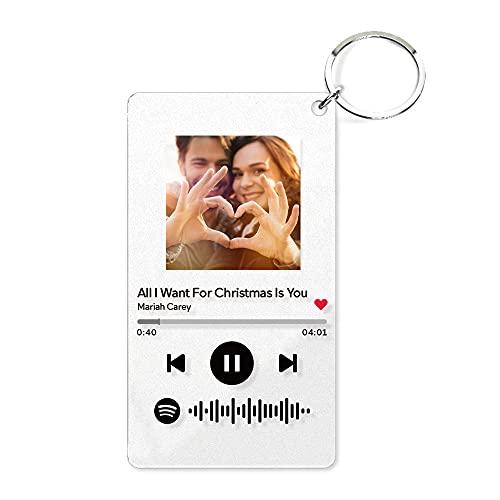 2 Paquet Porte-clés personnalisé en verre de Spotify personnalisable avec plaque porte-clés, plaque photo de code de Spotify personnalisable, porte-clés pour marié, marié, maman
