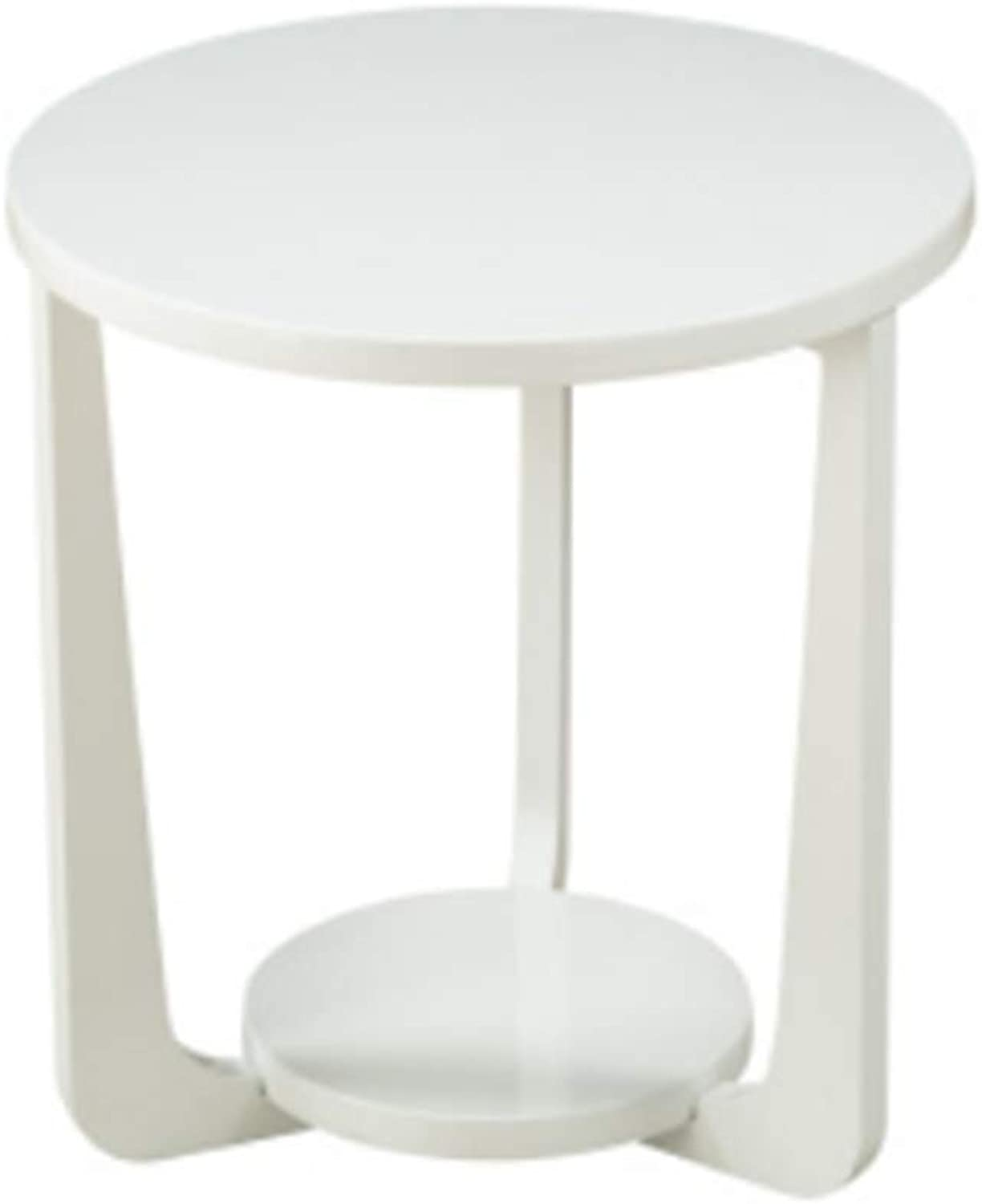 Nightstand Side Table, Round Reinforce Bedroom Bedside Table, Living Room Sofa Side Table, Solid Wood Balcony Casual Coffee Table, Floor Computer Desk, 3 colors End Table (color   White)