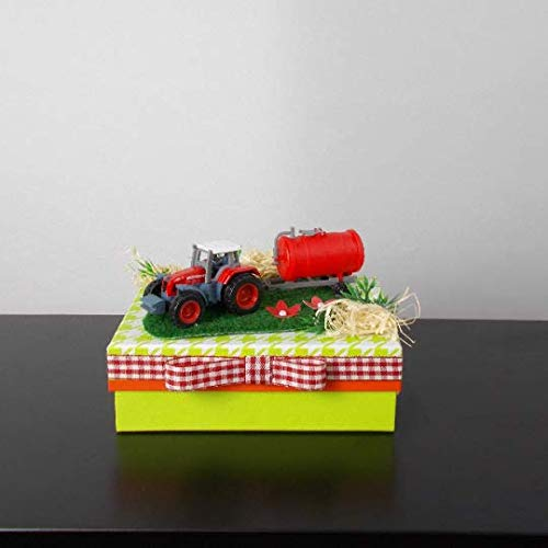 Geldgeschenk Box Geburtstag,grün, Traktor, Bauernhof, Landwirt, Bauer, Geburtstagsgeschenk