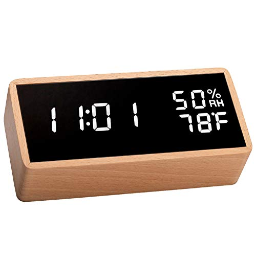 meross Digital Alarm Clock for Bedrooms, Real Wood, LED Display Desk Clock, Time Temperature...