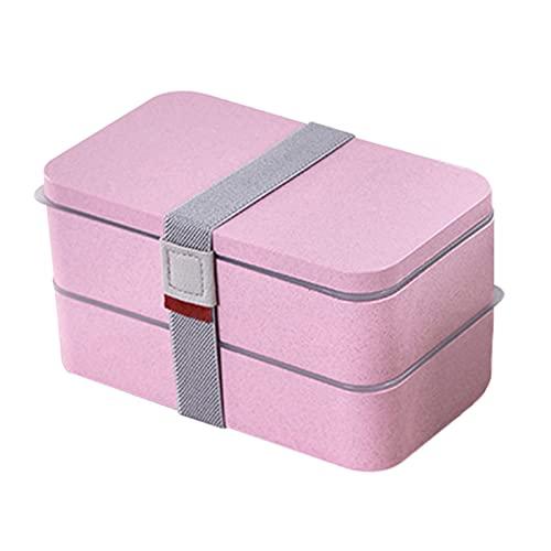 surfsexy Caja de almuerzo para microondas de 2 capas con 4 compartimentos y vajilla de fibra de trigo portátil Bento para oficina de estudiantes 1.2L