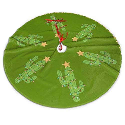 ASO-SLING Winter Christmas Tree Skirt Cactus Christmas Holiday Printed Tree Skirts Xmas Holiday Party Ornaments Xmas Tree Decoration 30/36/48 Inches Large