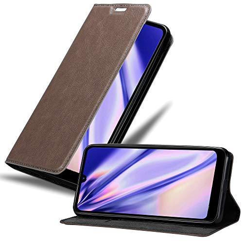 Cadorabo Hülle für LG Q60 in Kaffee BRAUN - Handyhülle mit Magnetverschluss, Standfunktion & Kartenfach - Hülle Cover Schutzhülle Etui Tasche Book Klapp Style