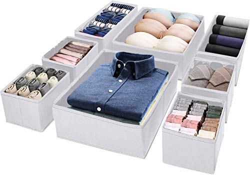 AVNICUD Caja de almacenamiento de 8 piezas, caja de tela, organizador de cajones versátil para dormitorio, ropa interior, calcetines, bufandas y otros accesorios pequeños.