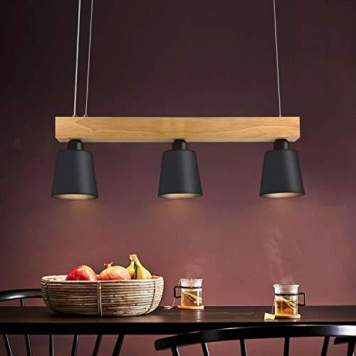 Lámpara colgante LED mesa de comedor madera 3 llamas blanco cálido lámpara de mesa de comedor ajustable en altura para comedor sala de estar oficina cafetería restaurante, negro, bombillas E27 incl.